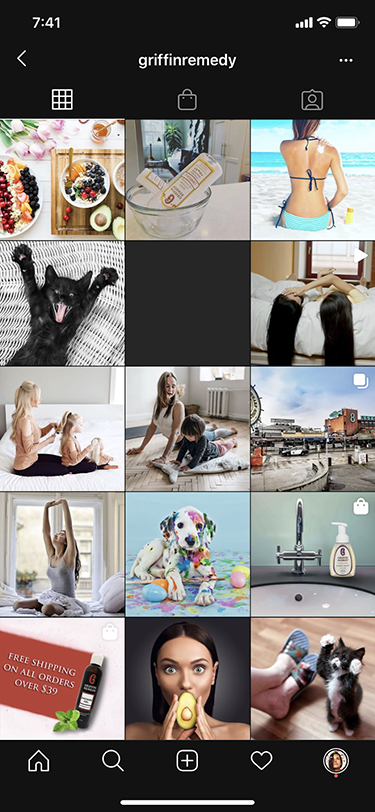 An example of poor social media branding. Too many stock images.