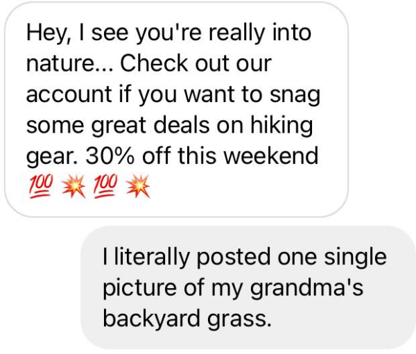 screenshot of a DM conversation in instagram