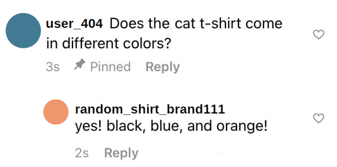 screenshot of a conversation in instagram comments