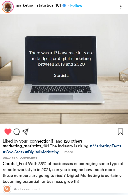 screen capture of a post on instagram