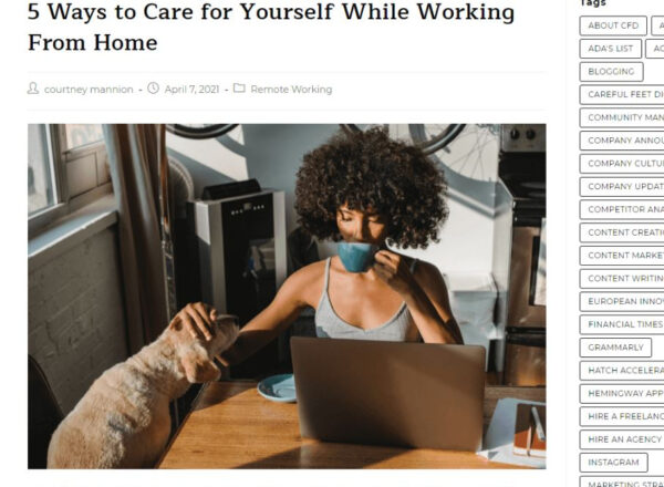 """Image presenting a blog post titled """"5 ways to take care of yourself while working from home!"""