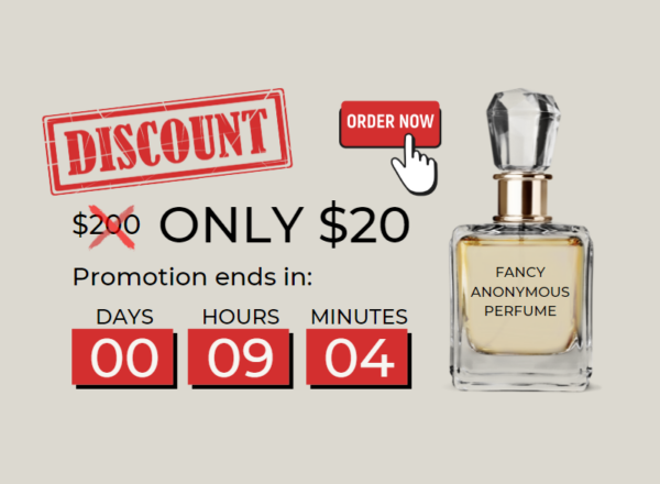 Image showing a fake perfume bottle with a promotional countdown commonly found on websites.