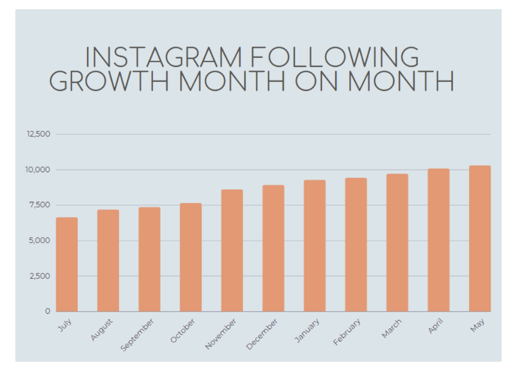 Graph of month on month Instagram following growth for DealNews