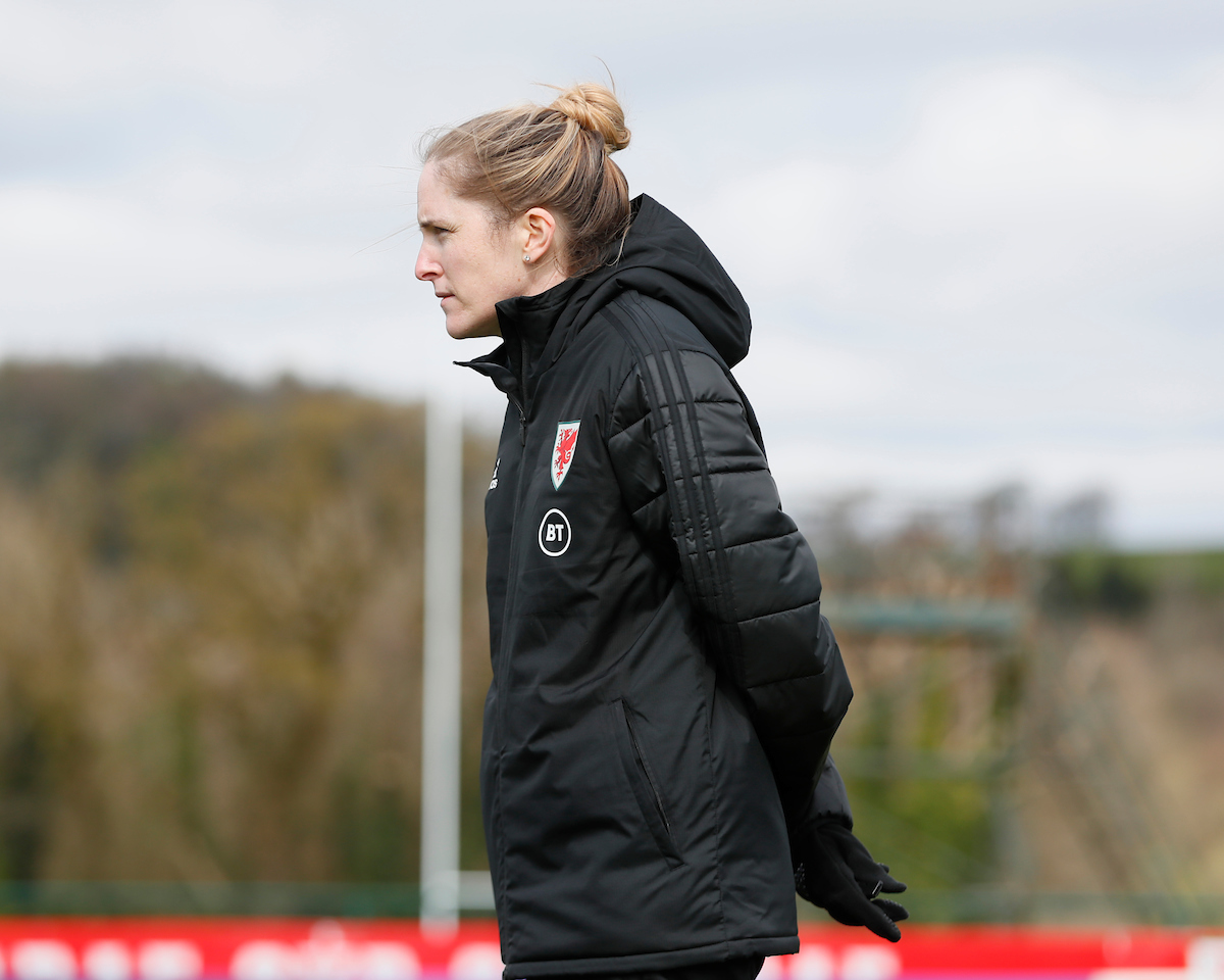 CARDIFF, WALES - MONDAY, APRIL 5, 2021: Wales' Manager Gemma Grainger during training ahead of the friendly against Canada at The Vale Resort. (Pic by Kunjan Malde/FAW)