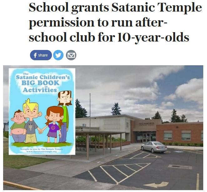 Is it time to homeschool our children ? Public schools permit after school satanic club for 5 to 10 year olds