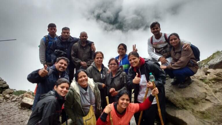 Group of trekkers at Valley of Flowers