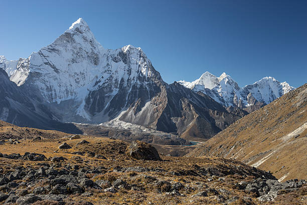 Ama Dablam mountain peak from Kongma la pass, Everest region Nepal