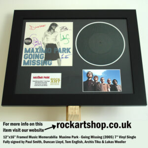 """MAXIMO PARK GOING MISSING 7"""" VINYL SIGNED BY ALL 5 PAUL SMITH"""