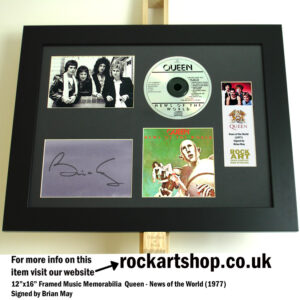 QUEEN NEWS OF THE WORLD SIGNED BRIAN MAY MUSIC MEMORABILIA