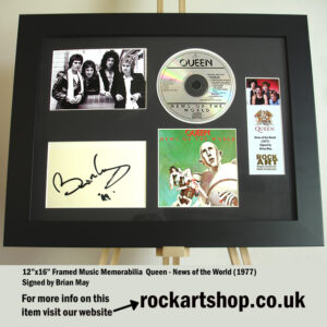 QUEEN NEWS OF THE WORLD BRIAN MAY SIGNED MUSIC MEMORABILIA