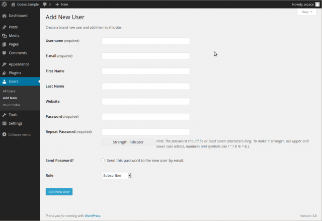 How to create new users in your wordpress blog