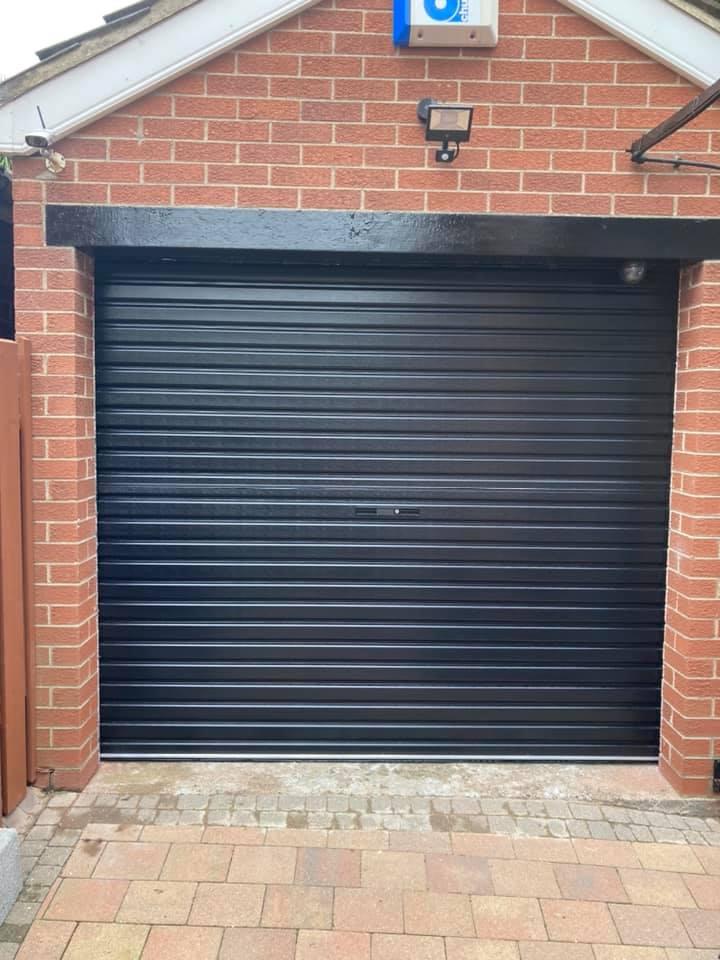 Black roller door fitted