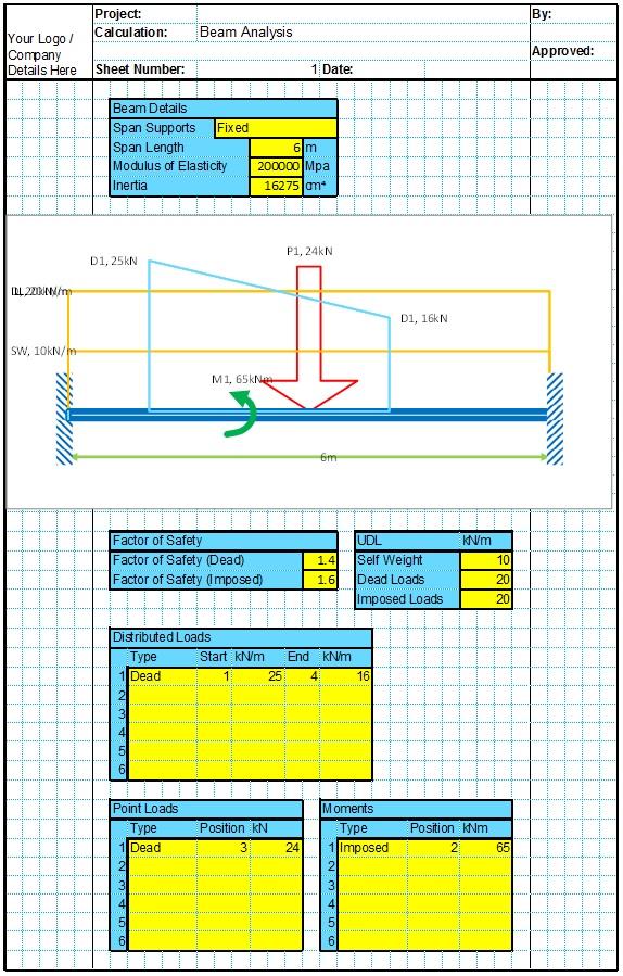 Single Span Beam Analysis Spreadsheet 1