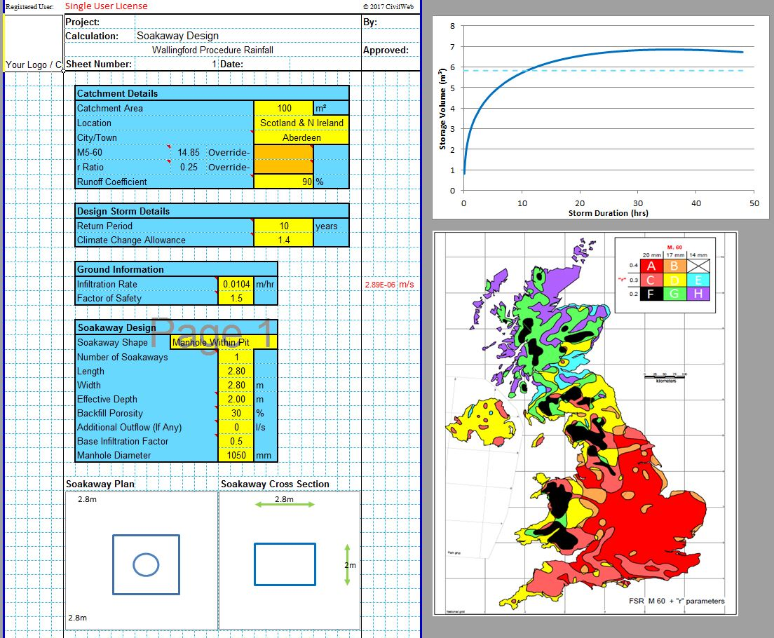 CivilWeb Soakaway Size Calculator Spreadsheet1