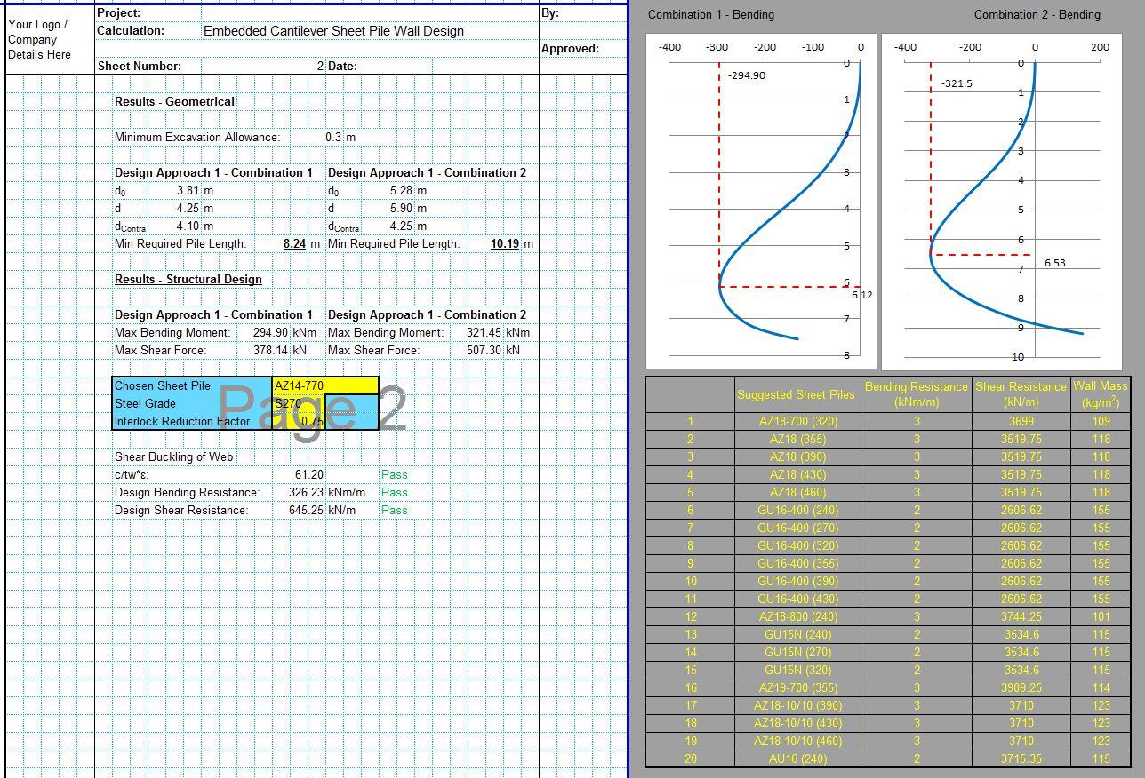 Cantilever Sheet Pile Design Excel 2