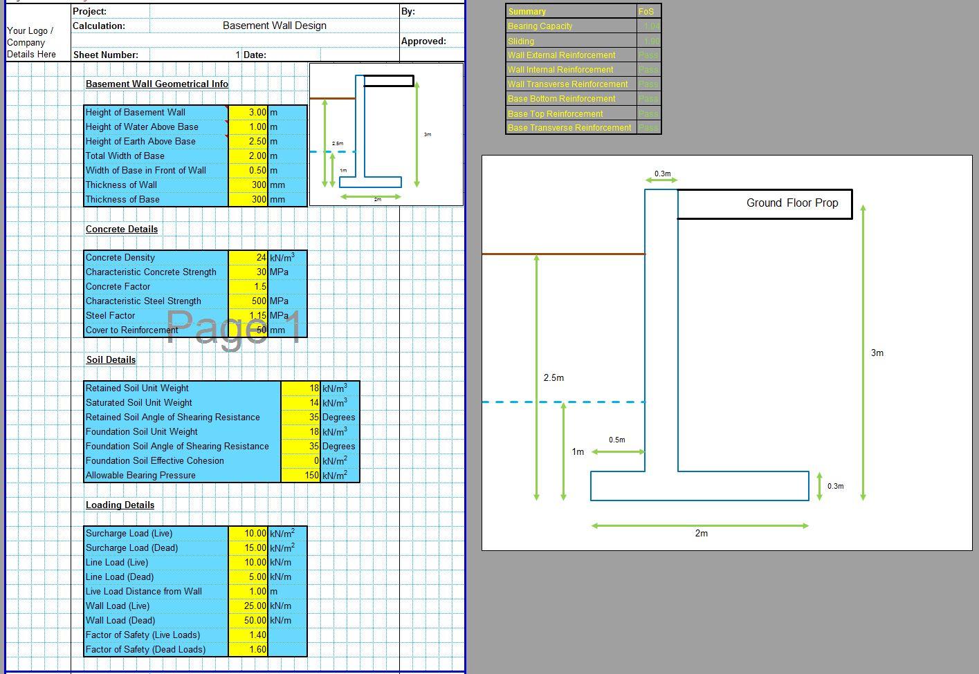Concrete Basement Wall Design Spreadsheet 1