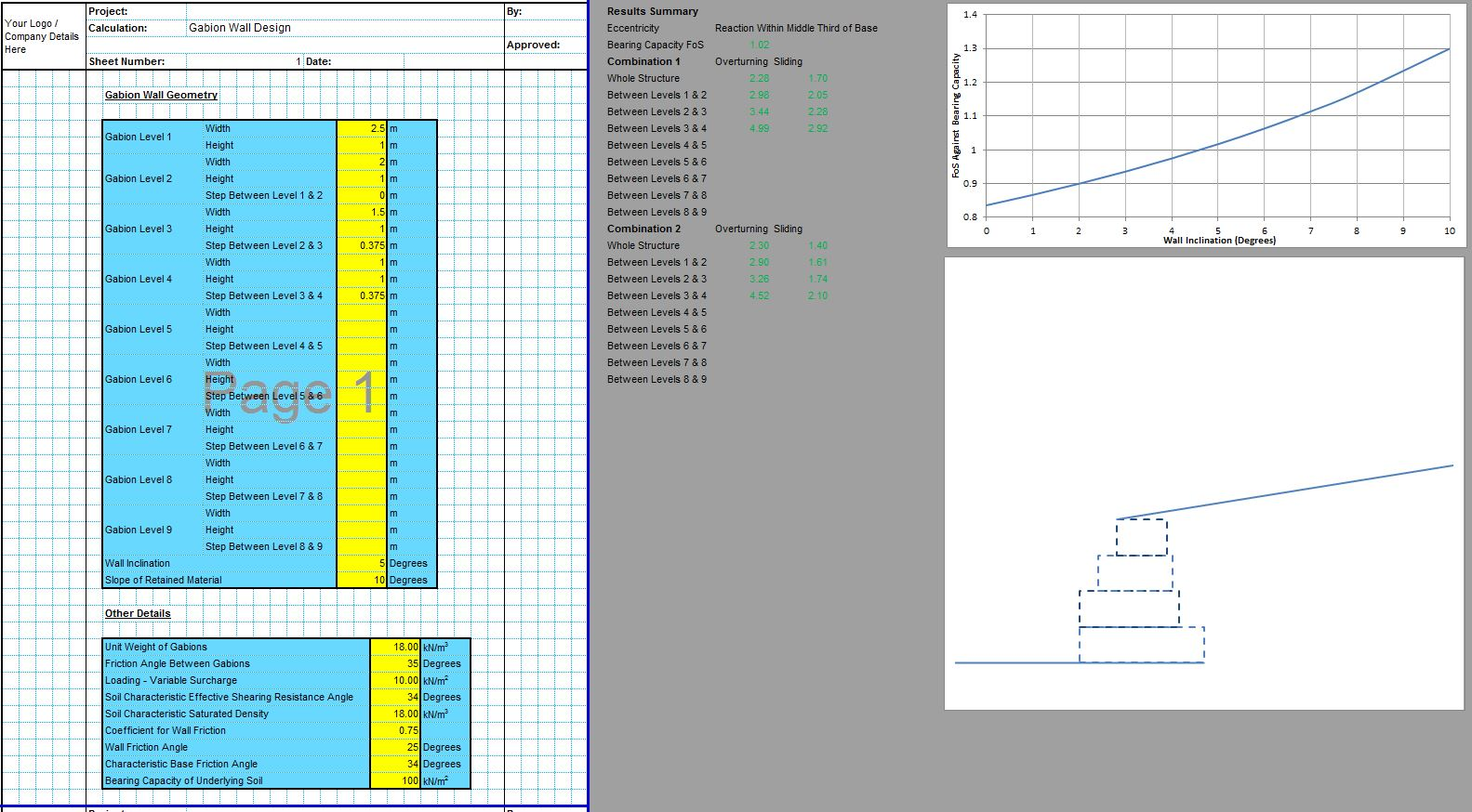 Gabion Wall Design Spreadsheet 1