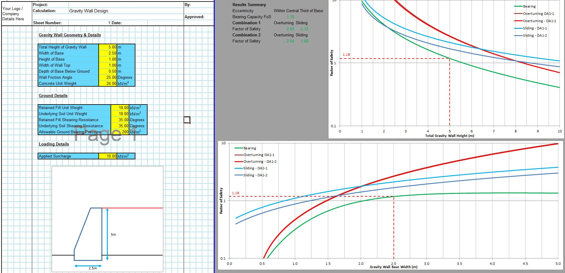 Gravity Retaining Wall Design Spreadsheet 1