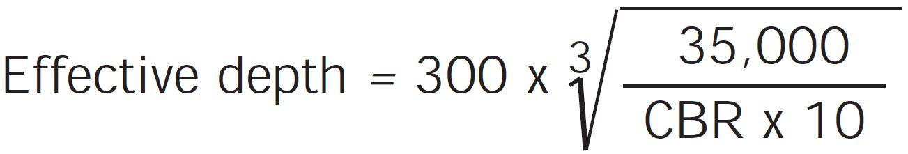 Heavy Duty Pavement Design - Effective Depth Equation