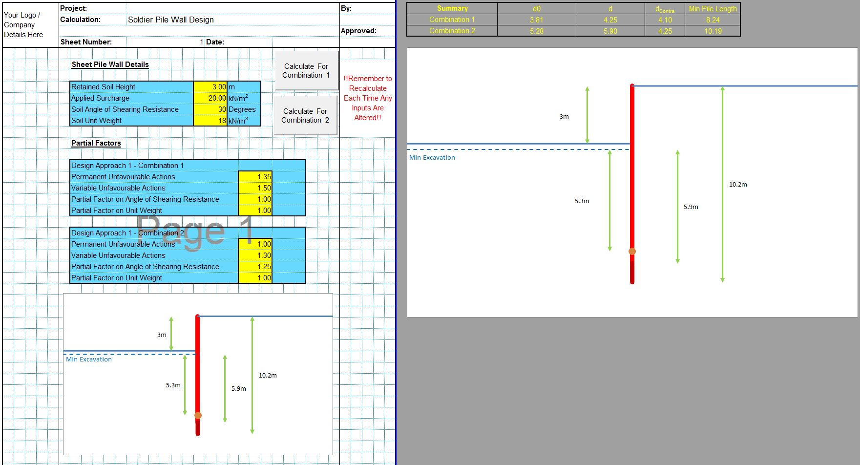 Soldier Pile Wall Design Spreadsheet 1