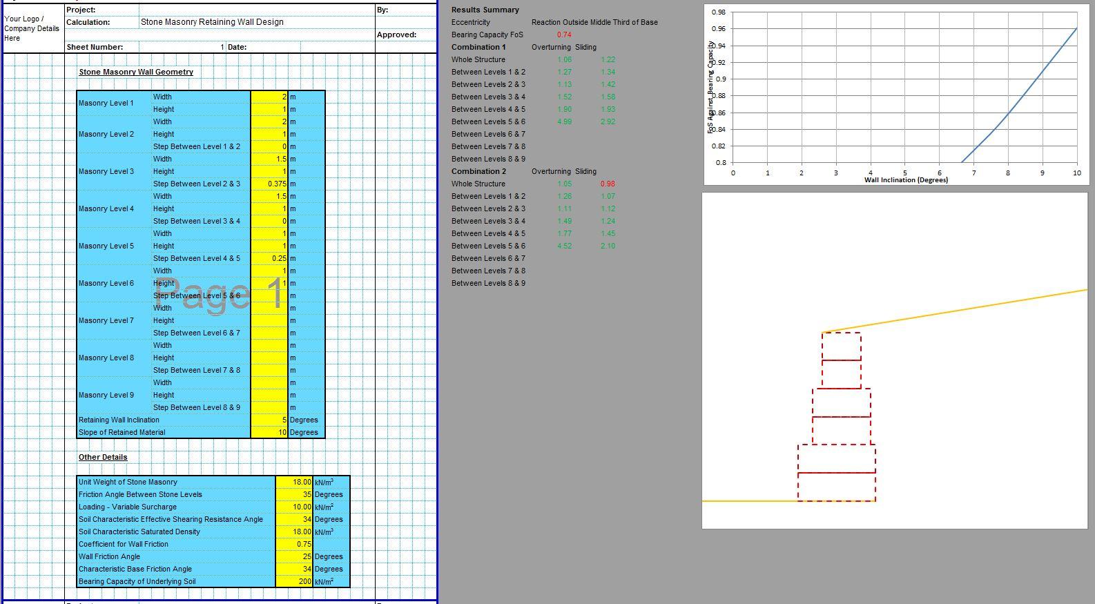 Stone Masonry Retaining Wall Design Spreadsheet 1