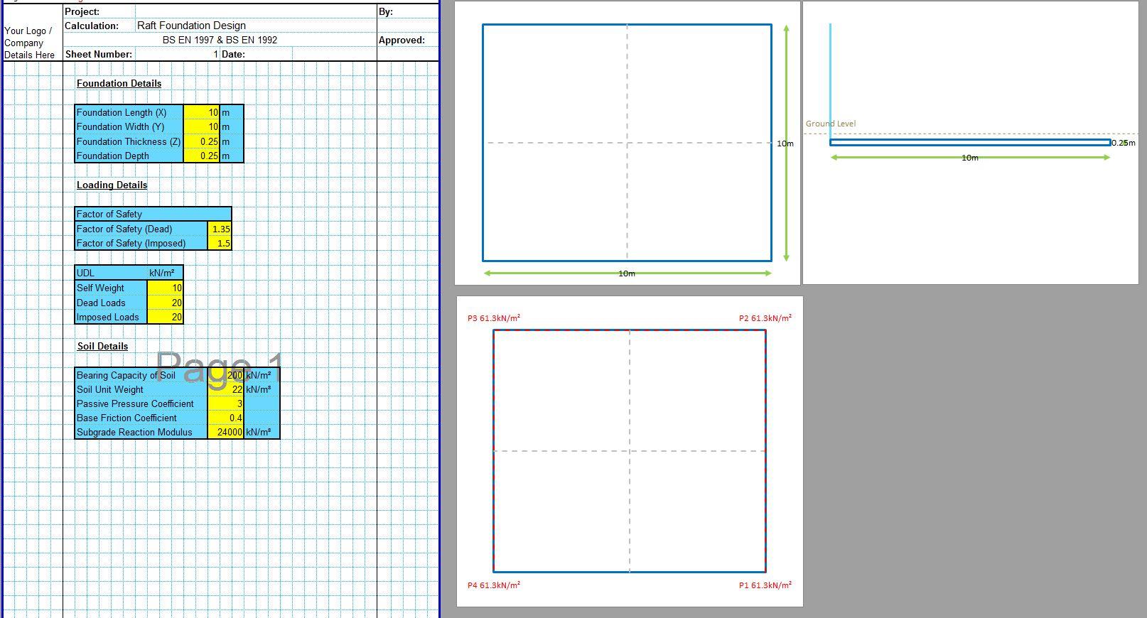 Design Of Raft Foundation Spreadsheet