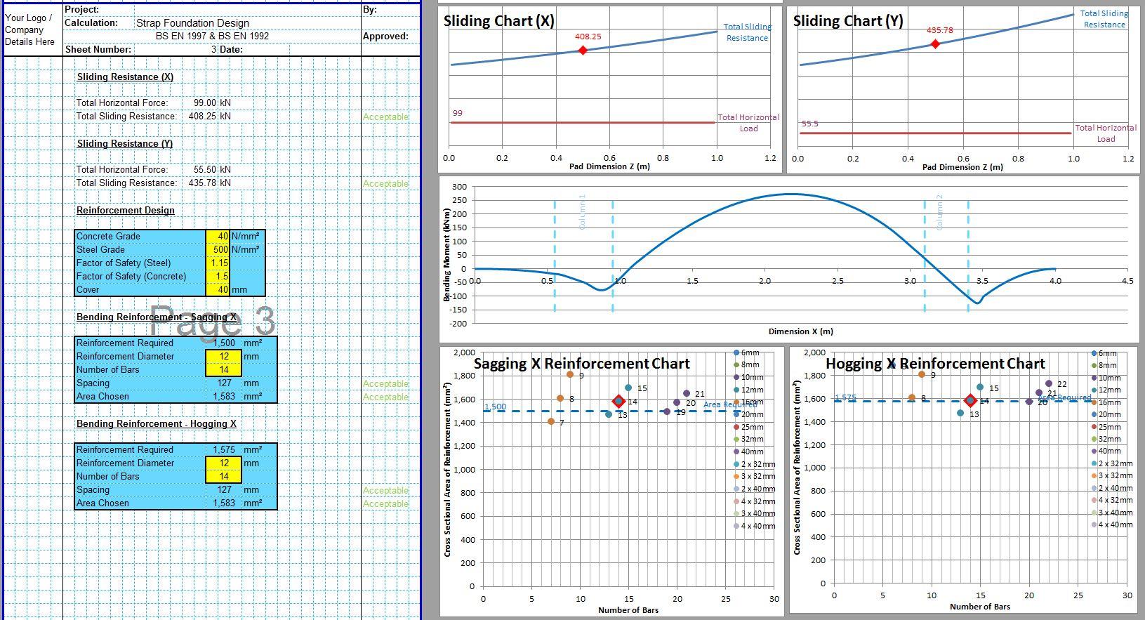 Strap Footing Design Excel Sheet