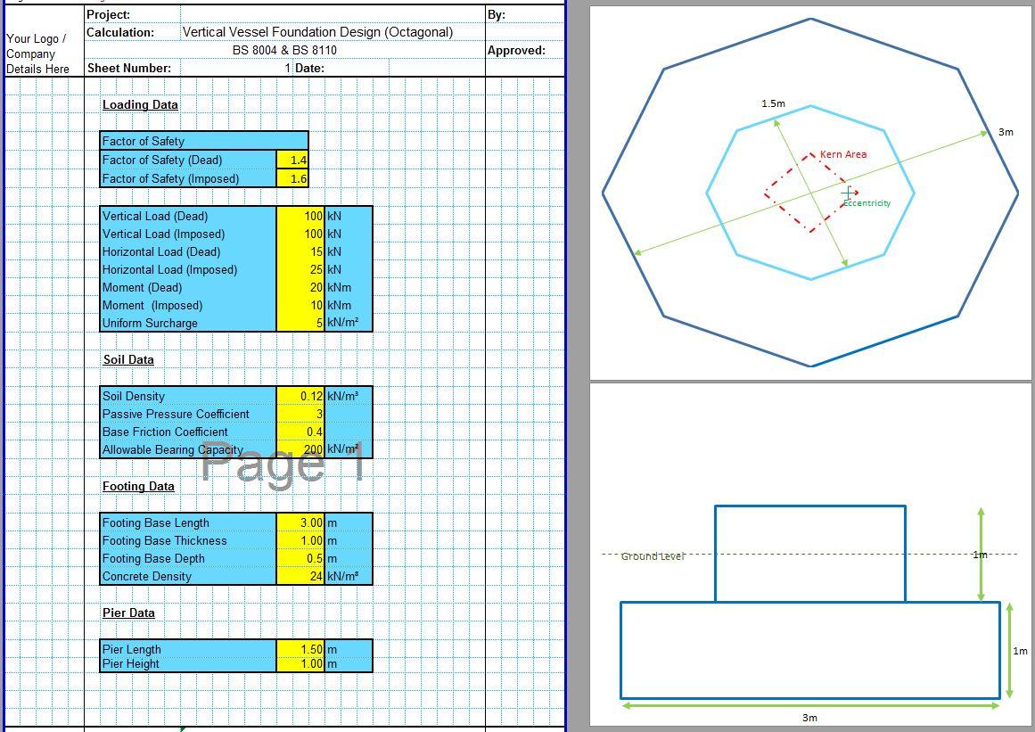 Vertical Vessel Foundation Design Spreadsheet