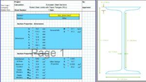 European Steel Section Properties Excel - RSJ