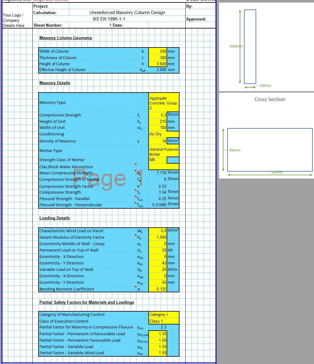Brick Column Design Spreadsheet 03