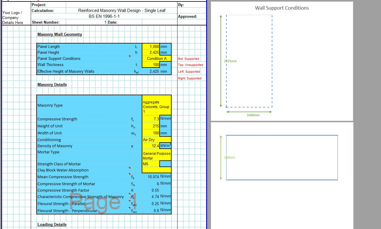 Reinforced Masonry Wall Design Spreadsheet 04