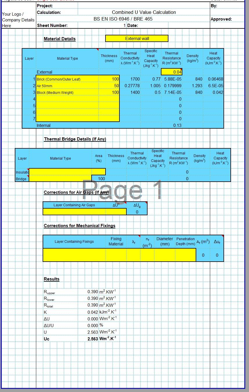 Cavity Wall U Value Calculator Spreadsheet 01
