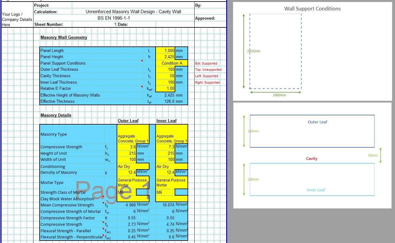 Load Bearing Wall Design Spreadsheet 01