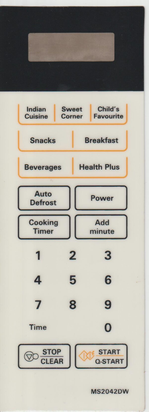 Microwave Oven Membrane Keypad Suitable for IFB