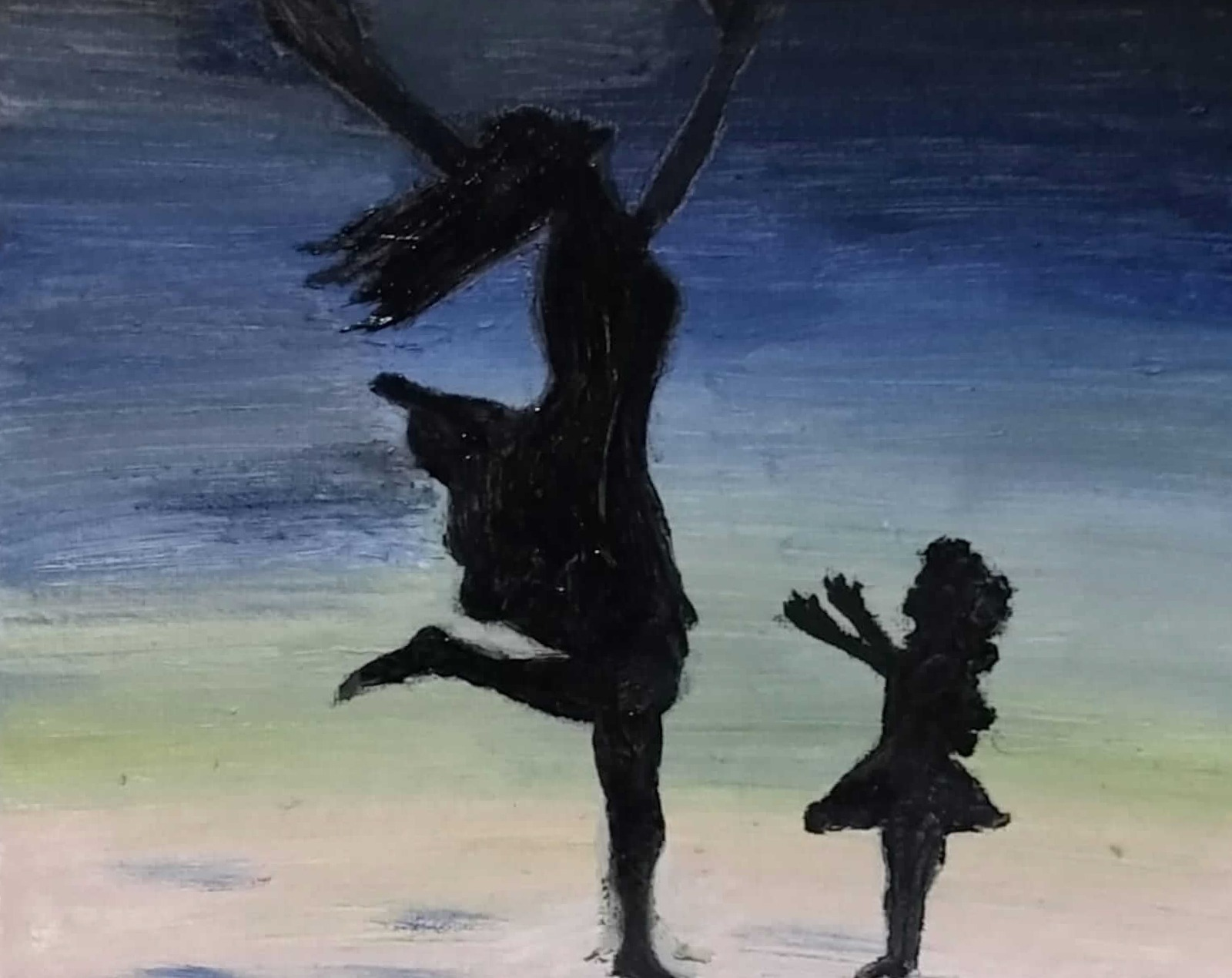 15: Dancing with my Daughter, by Mansoureh (Mahsah) Koohnab. Mahsah had to leave her 6-year old daughter behind in Iran when she fled. Painting provides her only temporary relief from this intolerable pain.