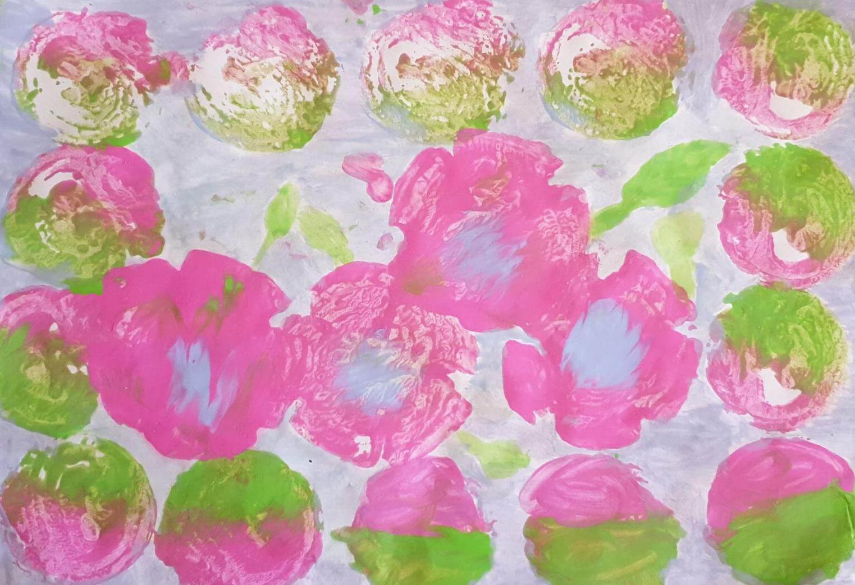 14: Pink Flowers, a block print by Neja Rathnaweer, aged 8, who is a regular member of Kids Art Club.