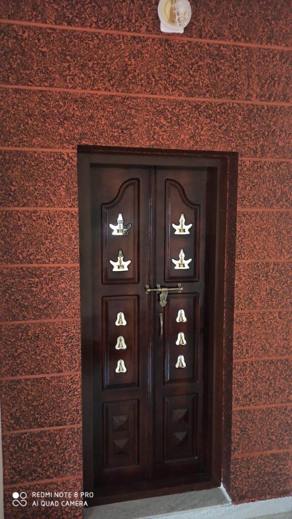 Textured wall front door