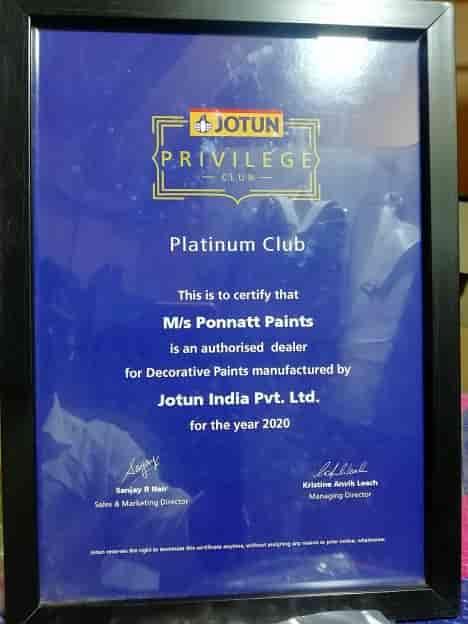 Jotun Privilege Club Certificate