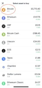 Buying assets on Coinbase