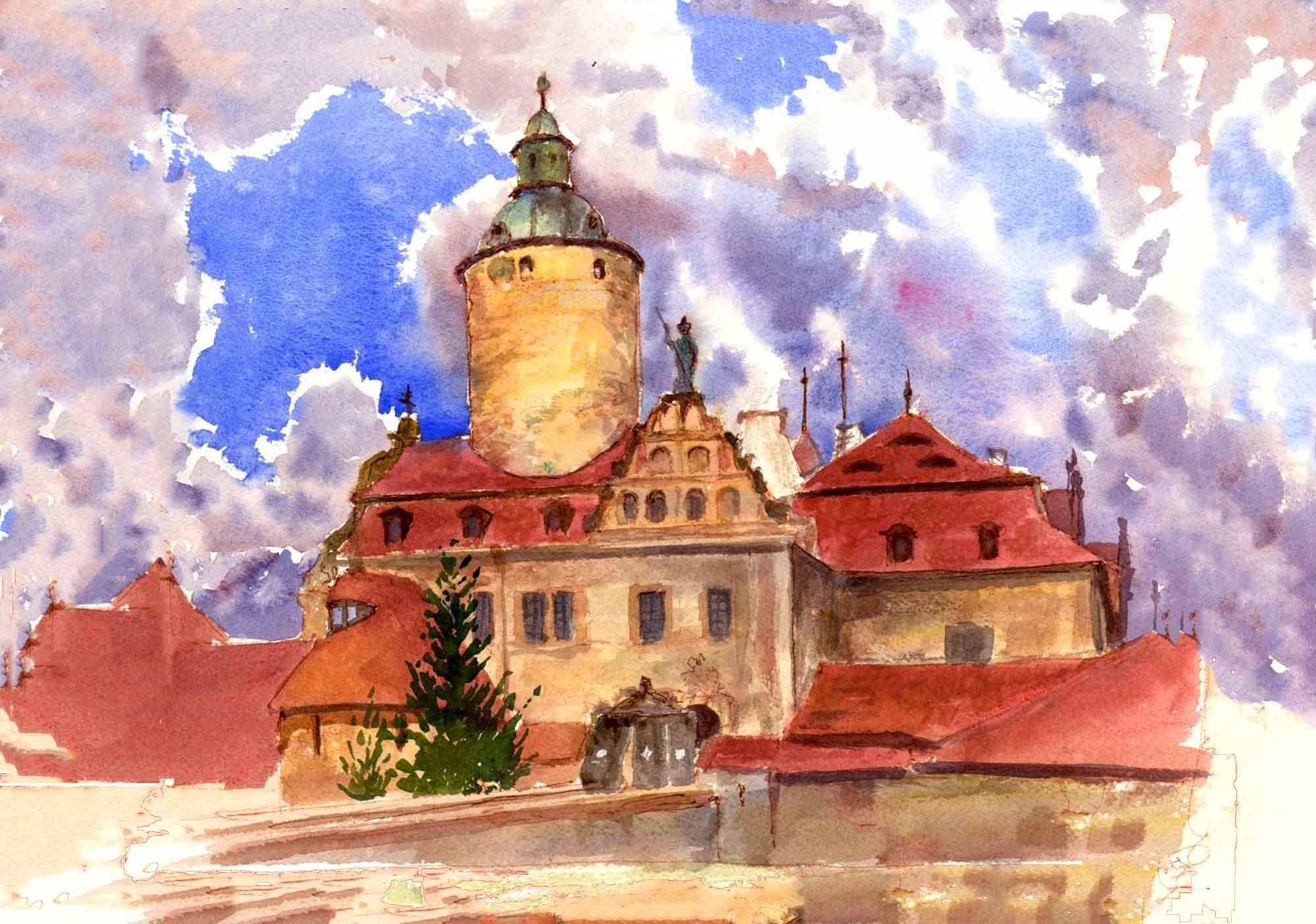 Castle Czocha painted in watercolors