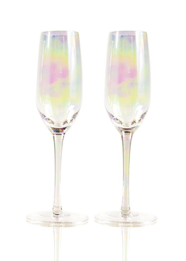 Sparkleware® Iridescent Champagne Glass Flutes   Keico Drinks