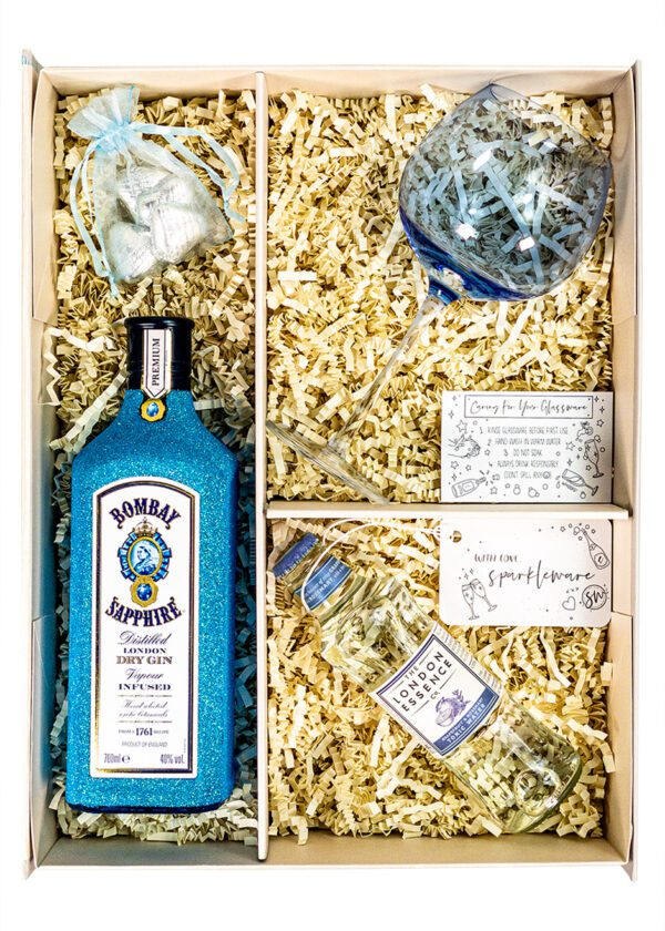Bombay Sapphire   70cl Dry Gin   Blue   Sparkleware Gift Set   Keico Drinks