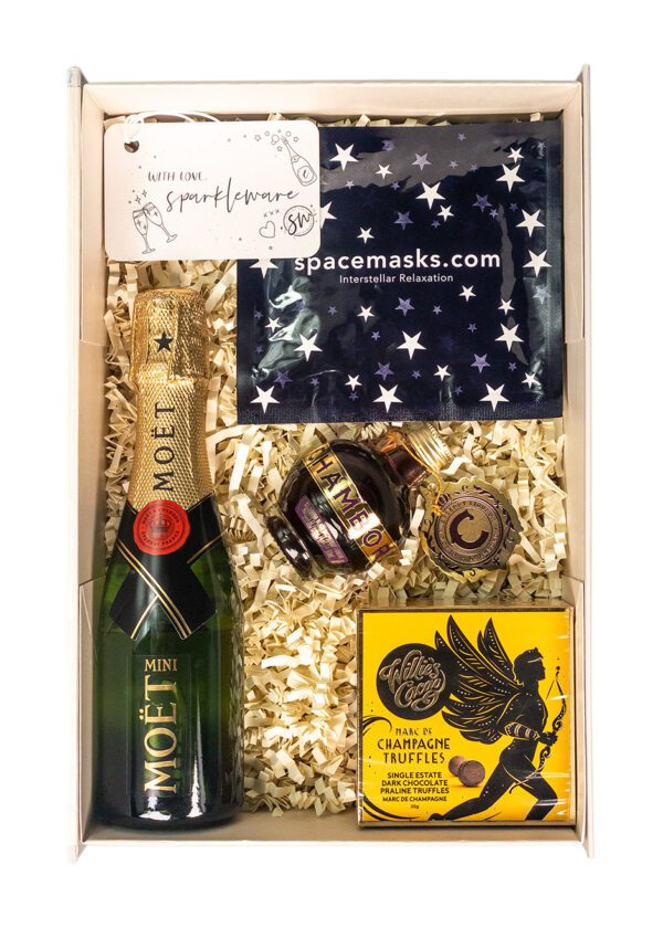 Mini 20cl Moet | 5cl Chambord | Willies Cacao Champagne Truffles | Interstellar Spacemask | Sparkleware Gift Set | Keico Drinks