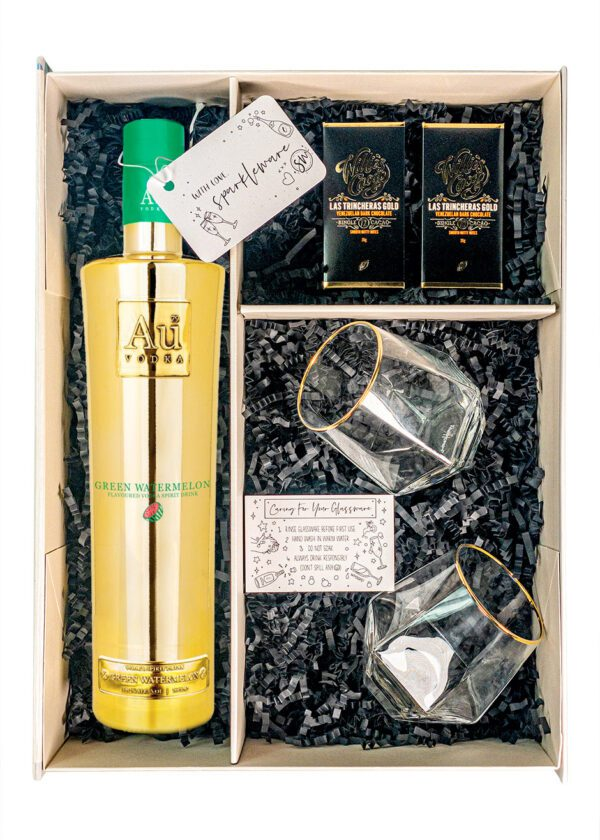 AU Green Watermelon   Gift Set With Golden Rim Tumblers   KeiCo Drinks