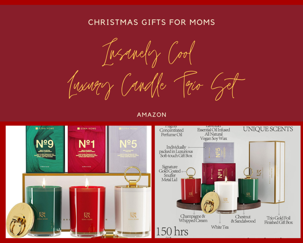 ESNA HOME Luxury Candle Trio Set. Insanely cool christmas gift your mom will love