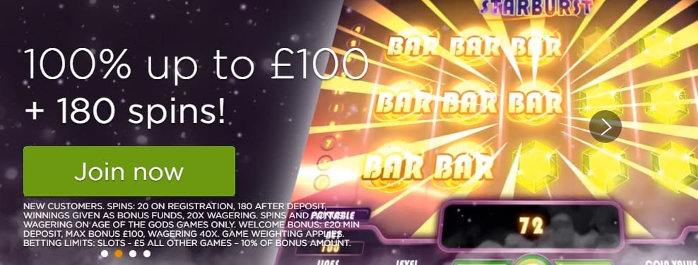 180 Free Spins and 100% Deposit Match