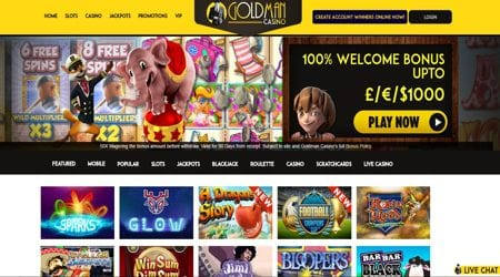 Goldman Casino Has a Very Easy to Use and User Friendly Home Page