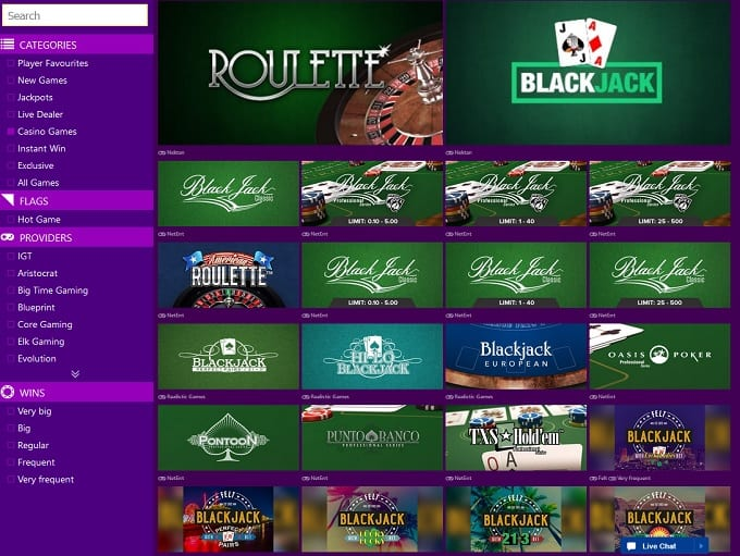 Roulette, Poker, Baccarat and Blackjack All Easy Access From The Homepage