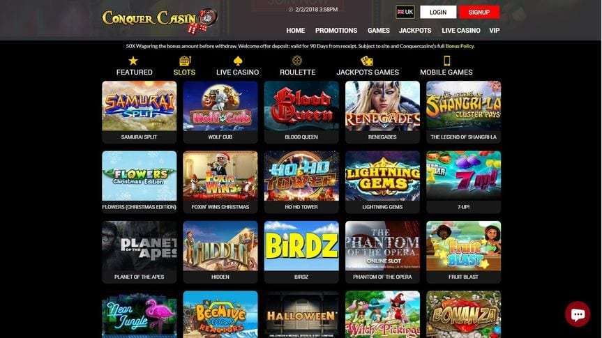 Slots Galore Means Top Winnigs Galore at Conquer Casino