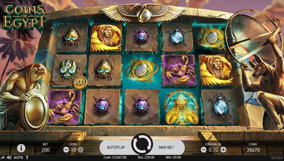Play Coins of Egypt With Your £5 FREE Sign-Up Bonus at Monster Casino Online